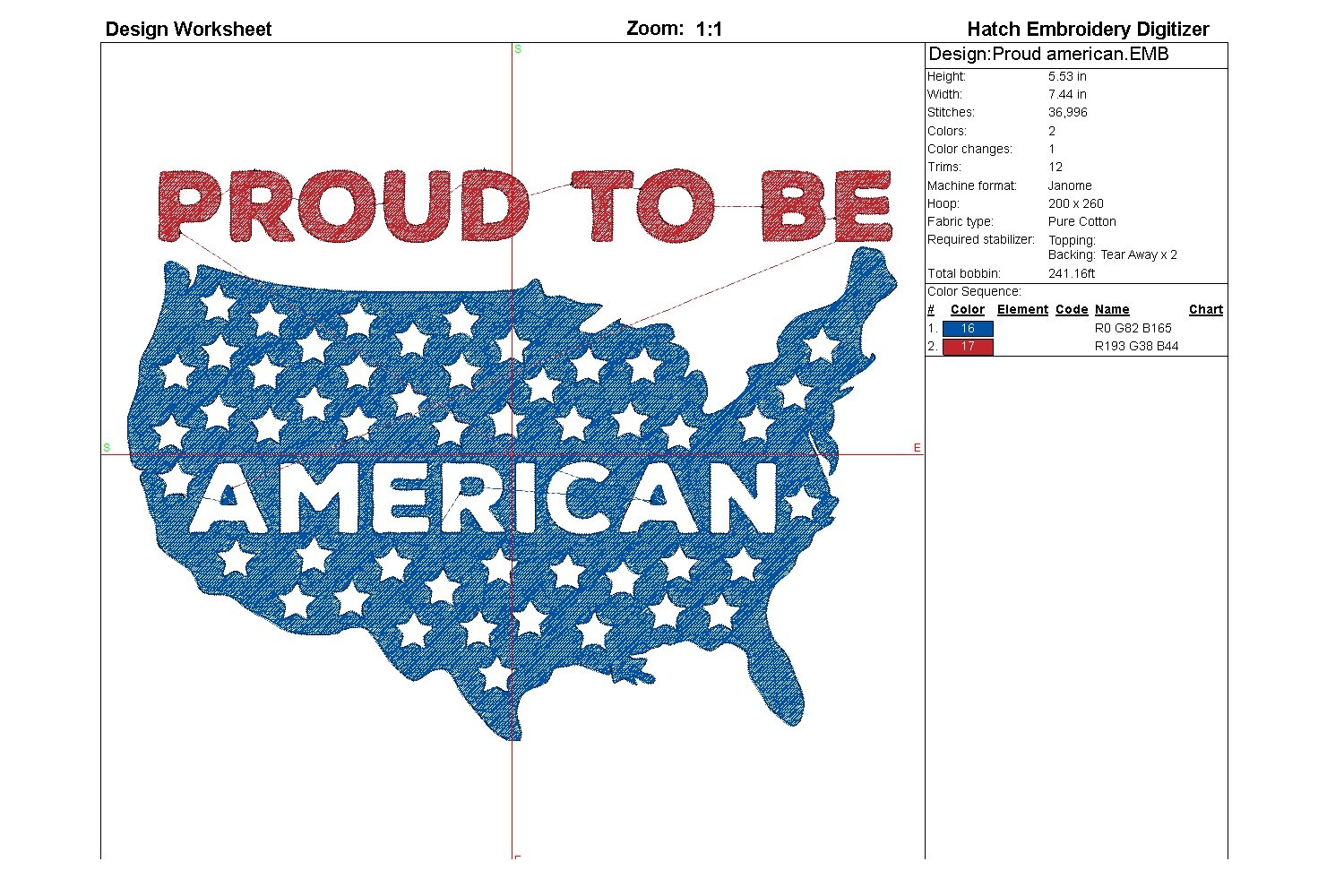 Proud American| Independence day | Machine embroidery| example image 6