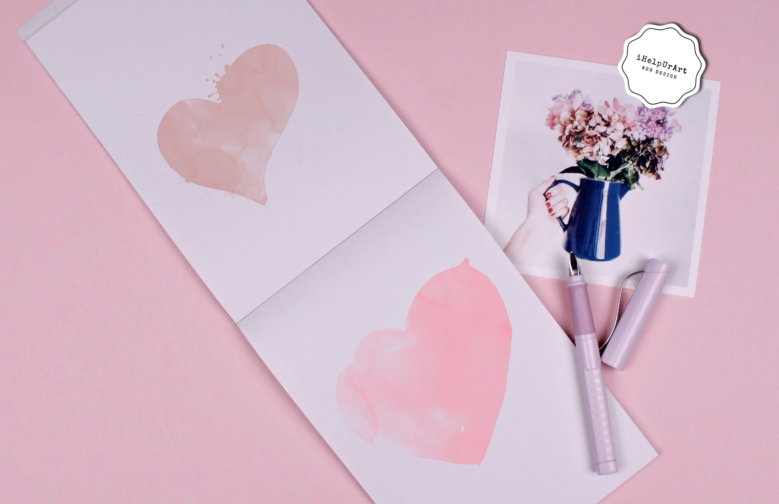 Blush Pink Watercolor Hearts Clipart example image 2