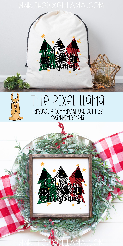 Merry Christmas Plaid Trees SVG example image 4
