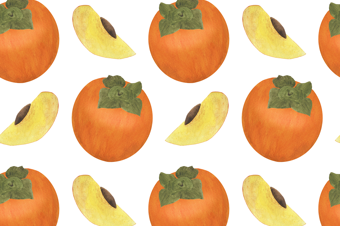 Set of persimmon watercolor illustrations. example image 11