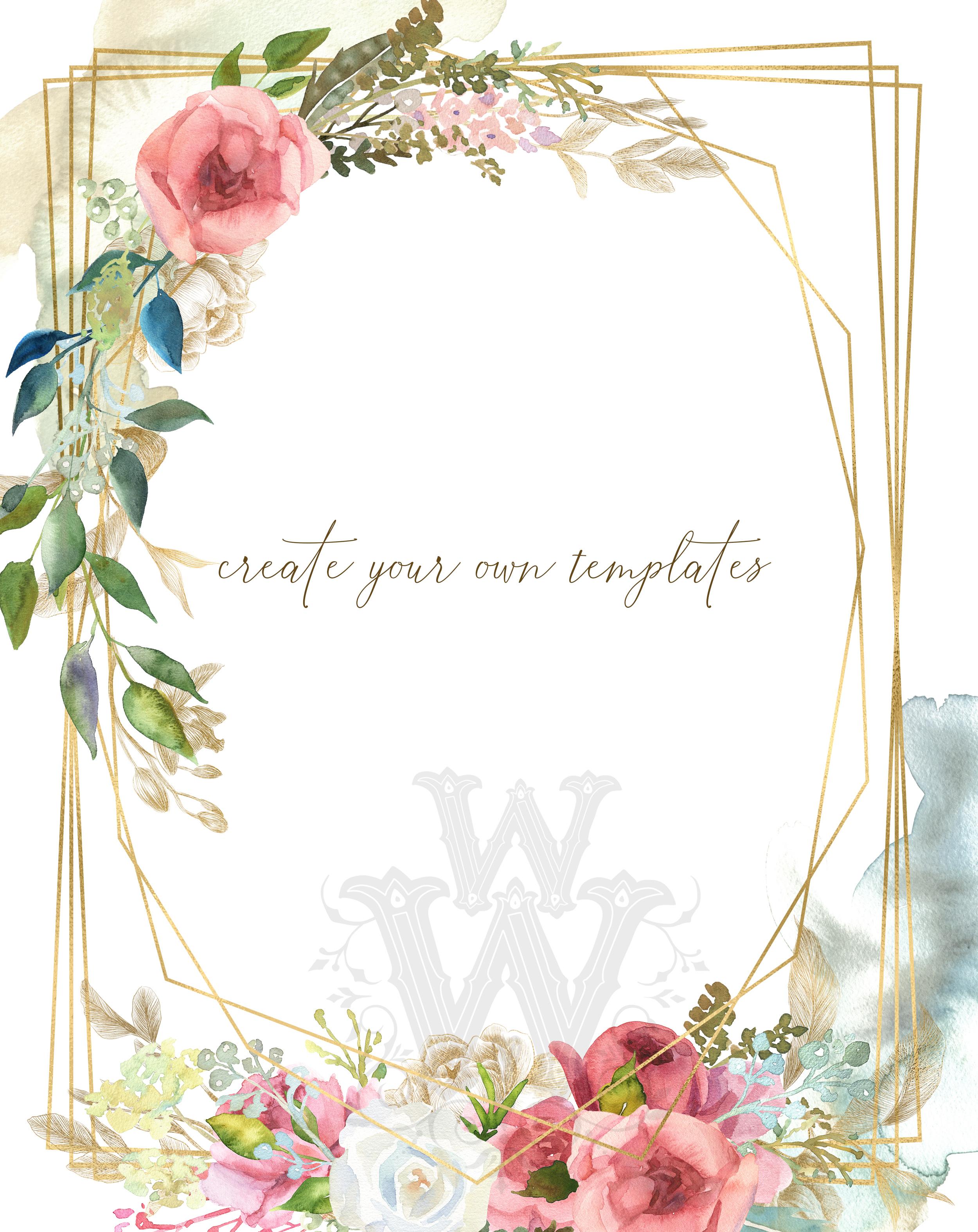 Watercolor rustic wedding bouquets clipart, vintage wreath example image 5