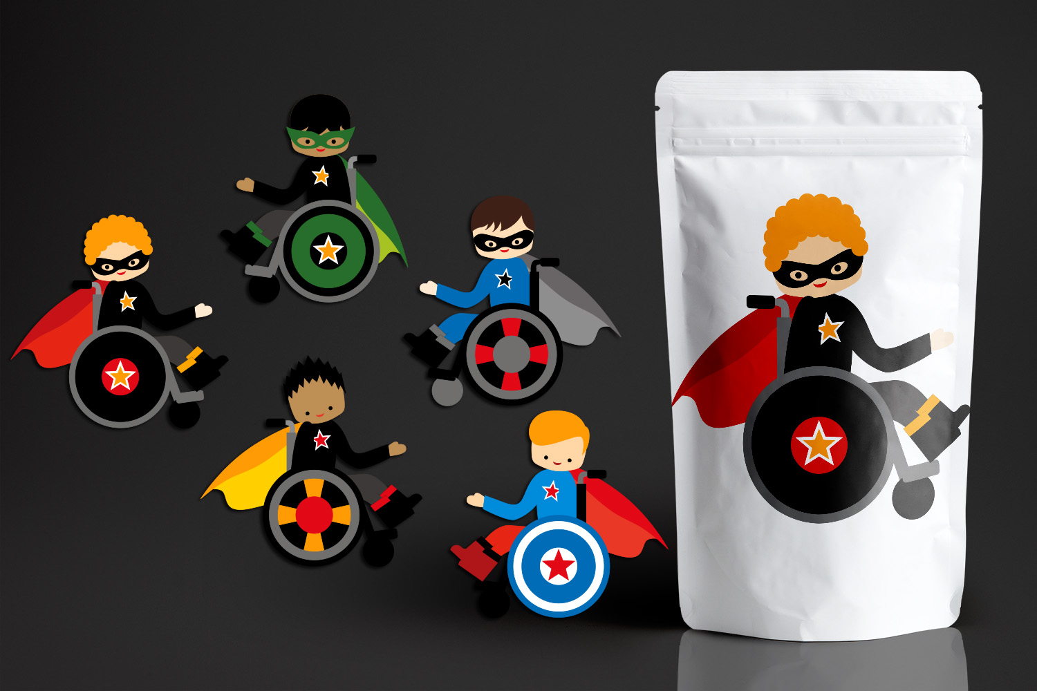 Superhero kids in wheelchairs - Disability Graphics Bundle example image 2