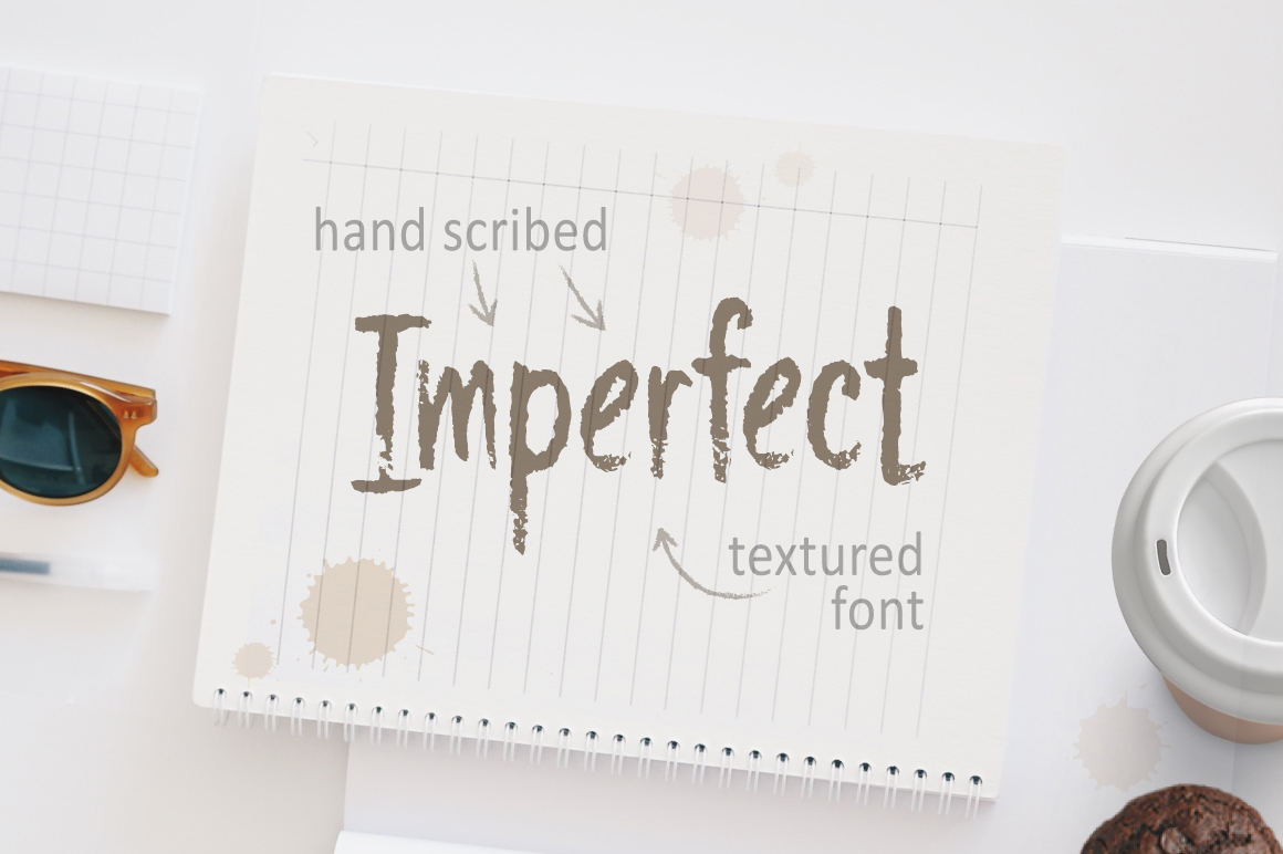 Imperfect - Hand Scribed Textured Latin Font example image 1