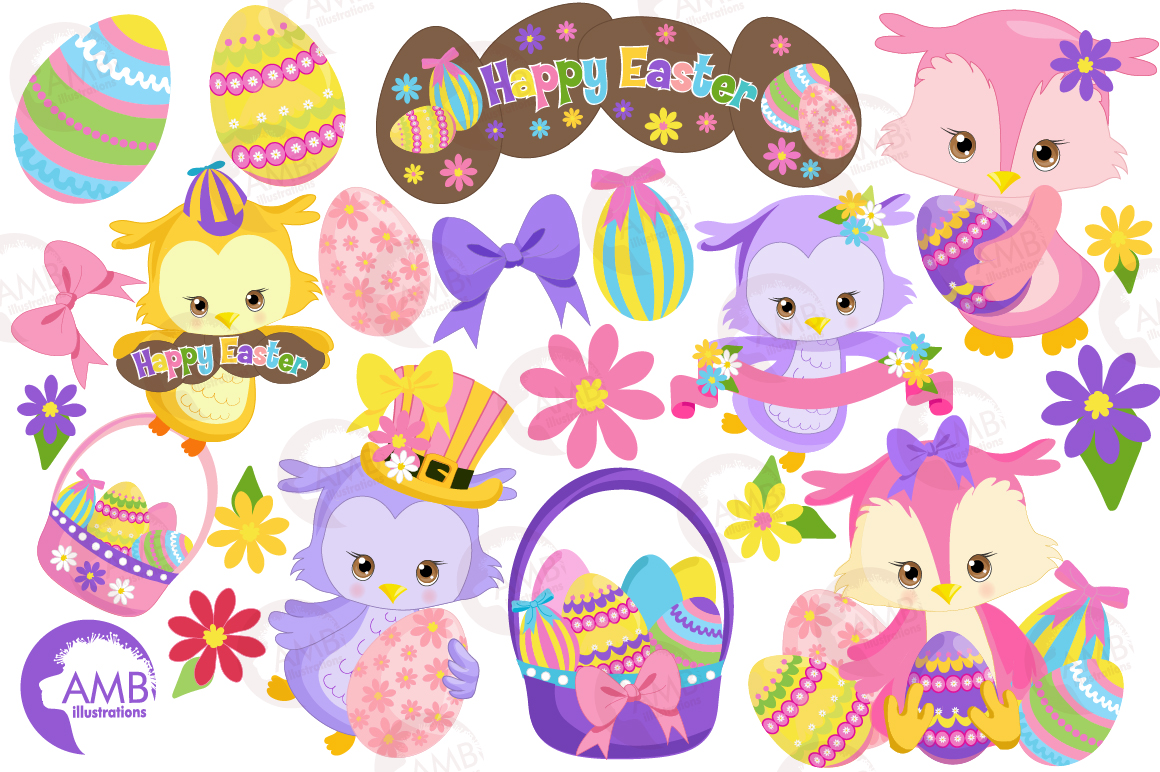 Easter Owls clipart, graphics, illustrations AMB-1818 example image 5