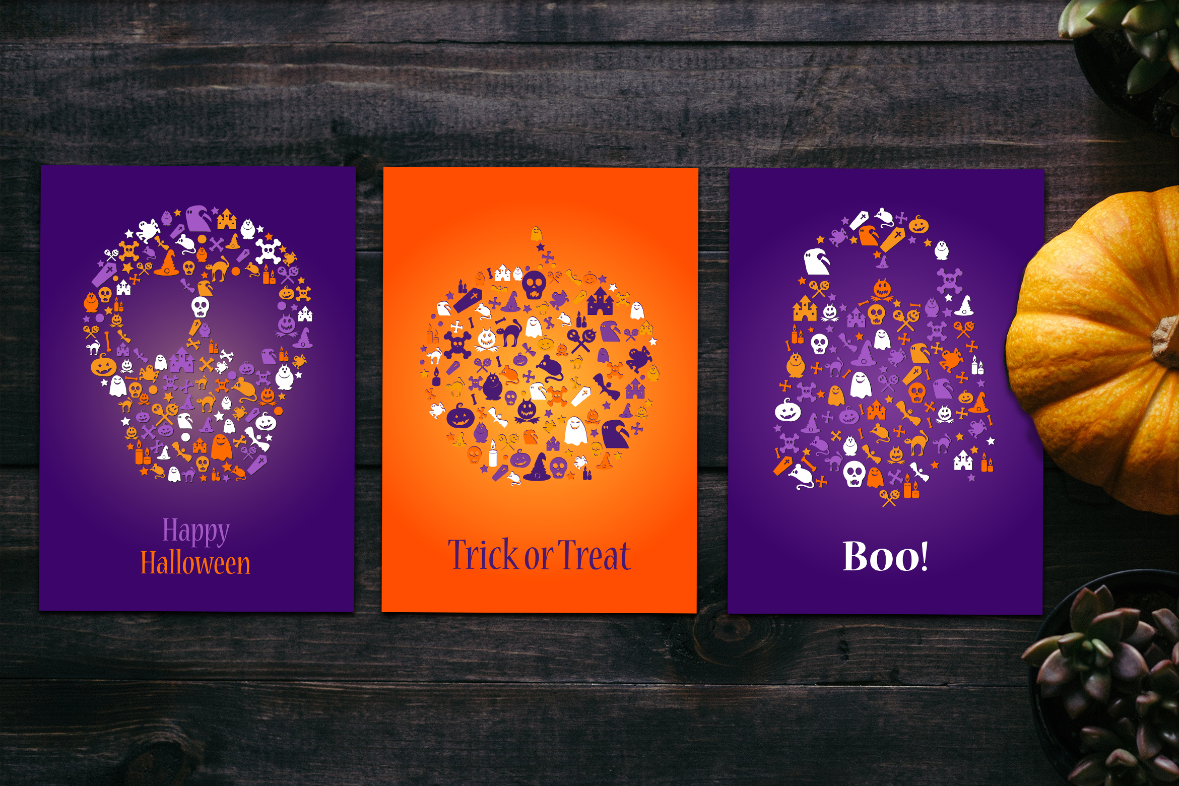 Happy Halloween Silhouette Banners Set example image 2