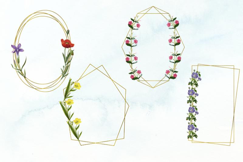 15 Vintage Wedding Geometric Frames, Wedding Floral Frames example image 3