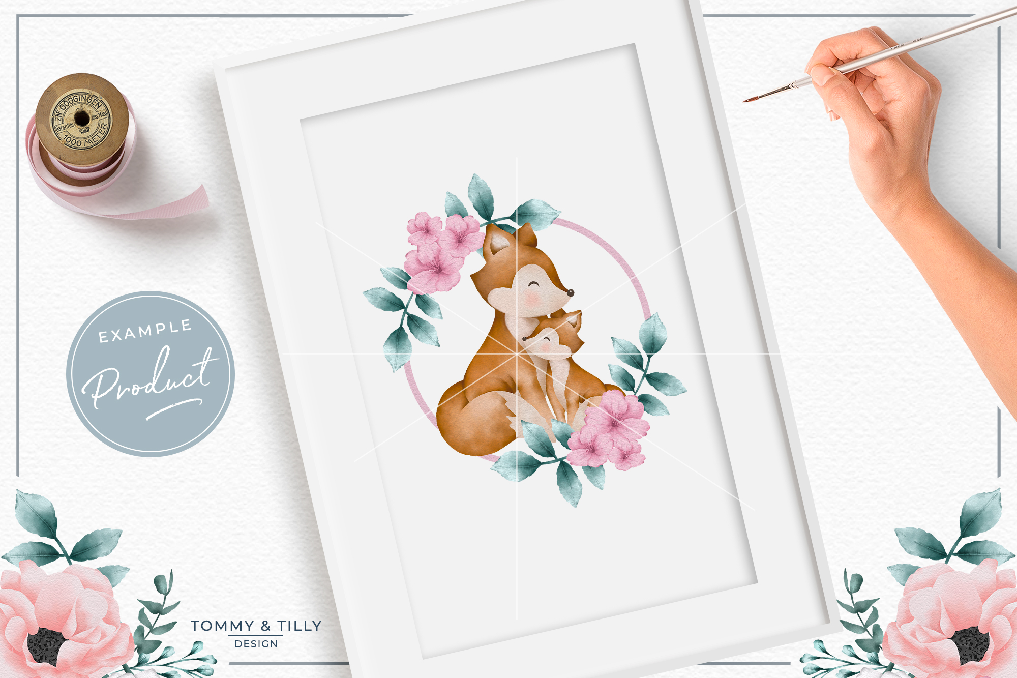 Wreath Mummy and Baby Fox - Sublimation PNG Clipart example image 3
