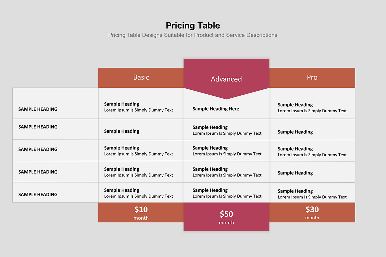 Price Table  Infographic Presentation example image 15