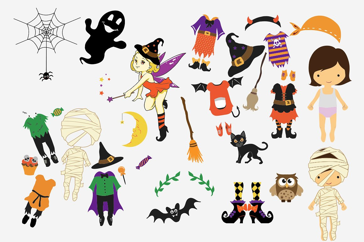 Halloween Clipart bundle 82 elements Eps and PNG example image 3