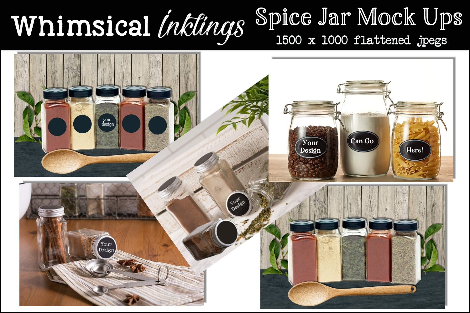 Spice Jar Mock Up Collection-Set of Five example image 1