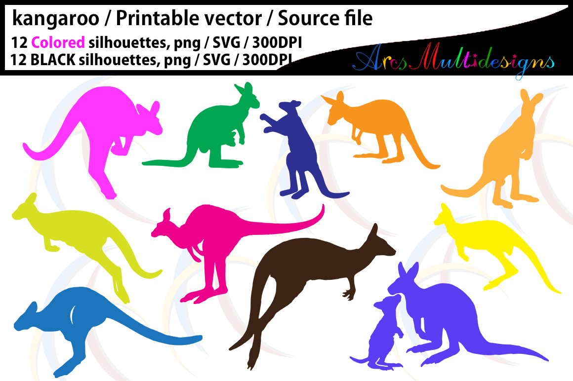 Kangaroo silhouette / EPS /SVG/ vector  / PNG / colored kango silhouette / colored kangaroo / Cute kangaroo / High Quality example image 2