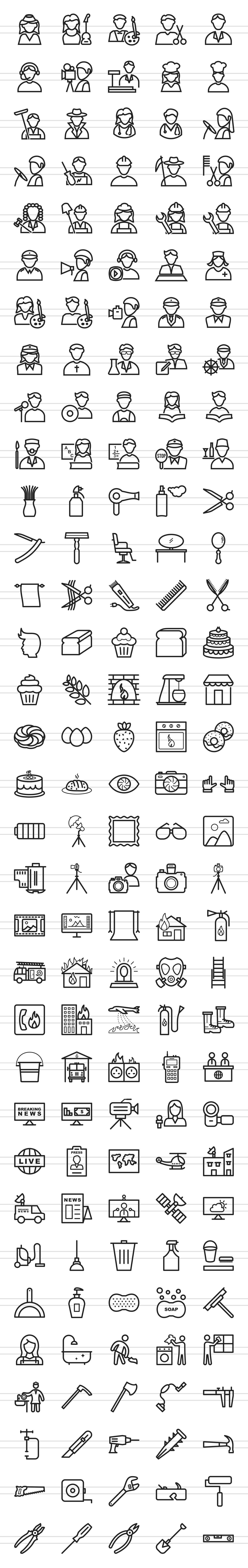 166 Professionals & their tools Line Icons example image 4