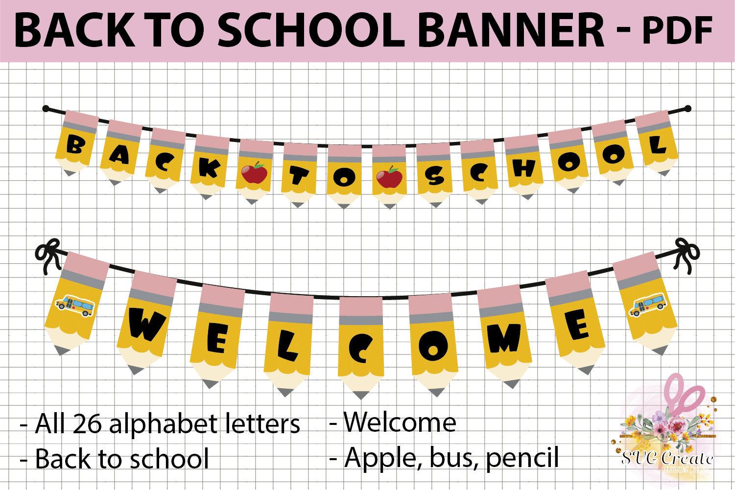 School printable banner, back to school banner example image 1
