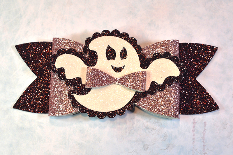 5 Hair bow template SVG, Halloween faux leather bow template example image 4