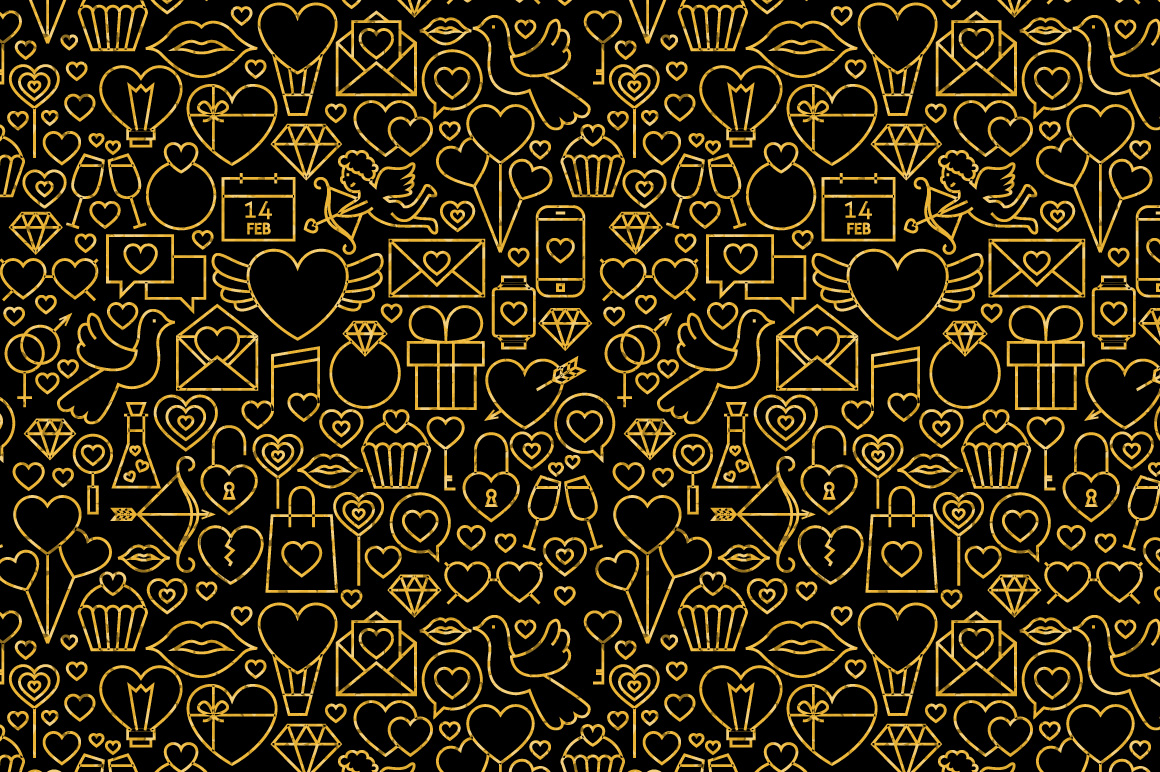 Valentine Day Line Gold Tile Pattern example image 3