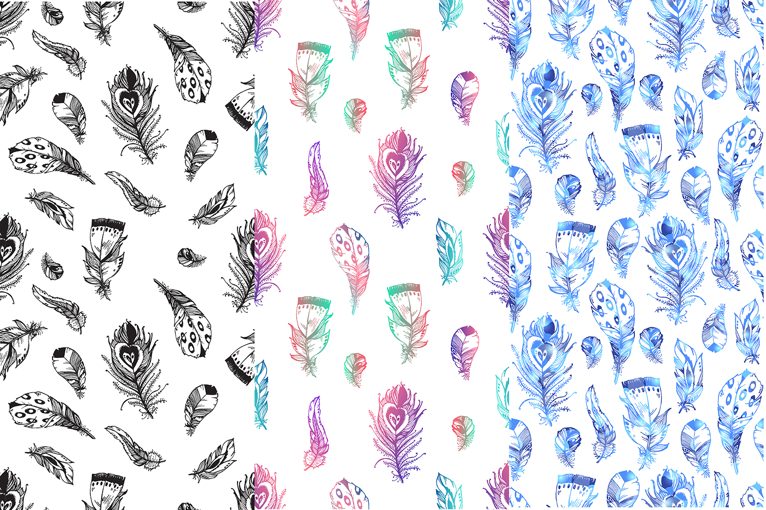 Vector boho feathers. Designs. example image 3