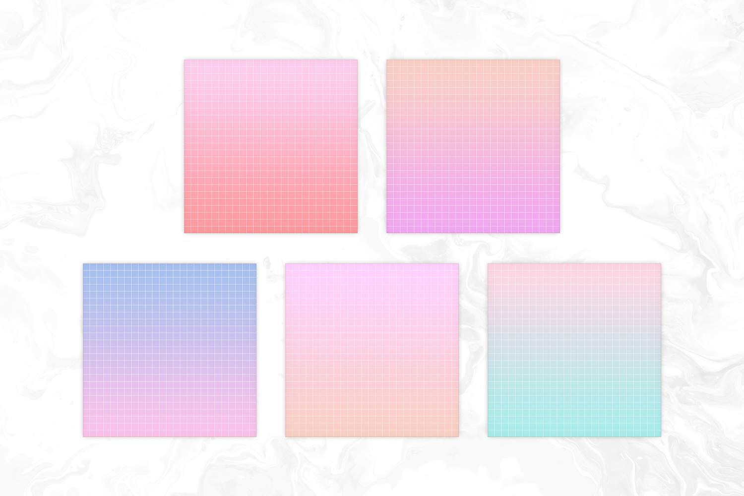 Vapowave Inspired Pastel Gradient Big Grid Backgrounds example image 2