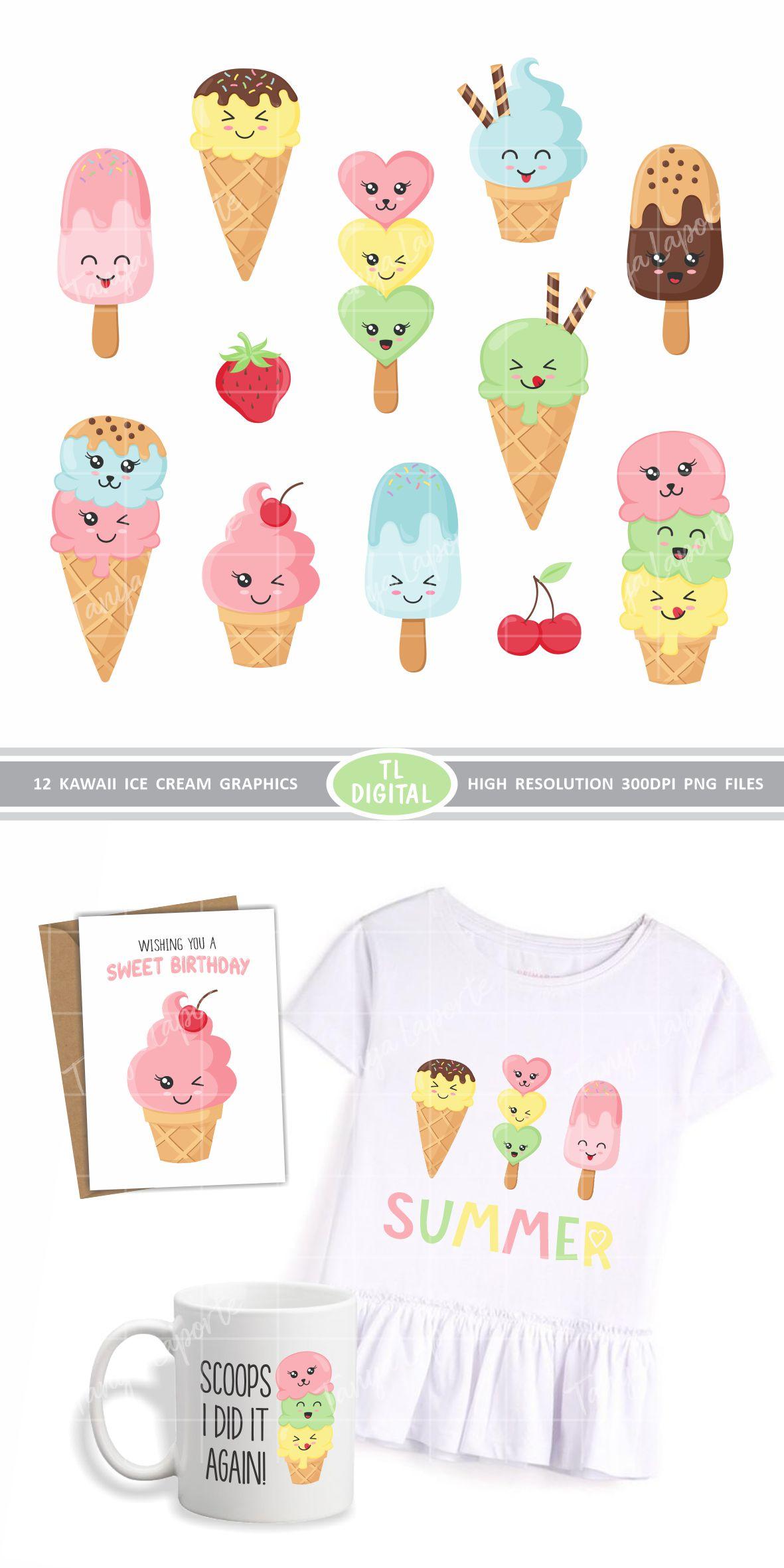 Kawaii Ice Cream Clipart Set - PNG Files - 12 Graphics example image 2