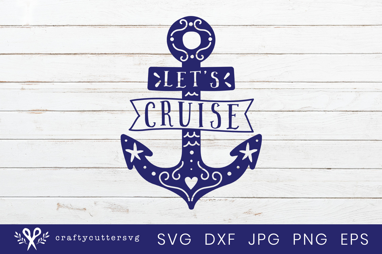 Let's cruise Svg Cut File Anchor Heart Clipart example image 2
