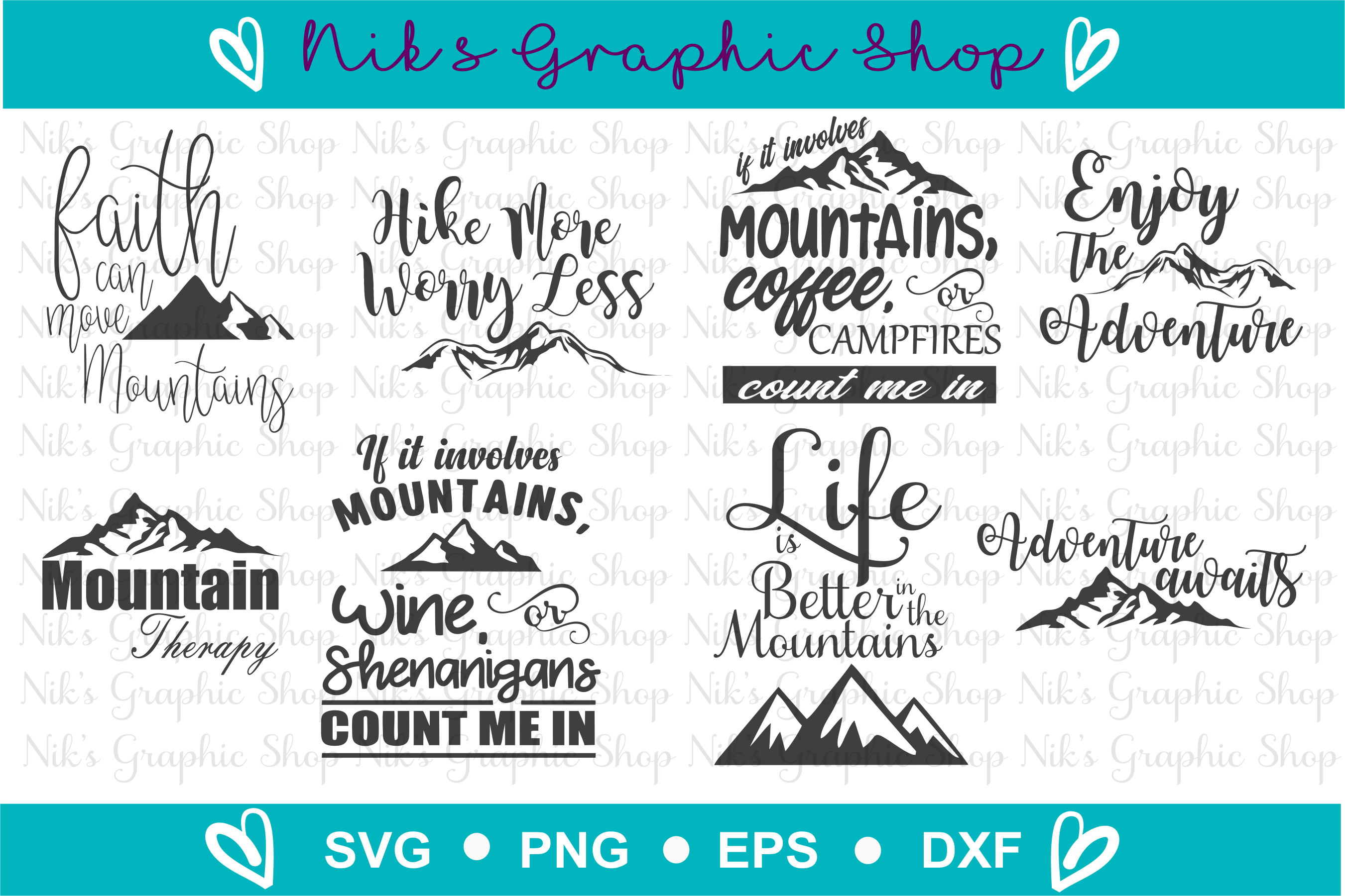 Mountains Svg, Mountain Bundle 8 for 1, Mountains Svg example image 2