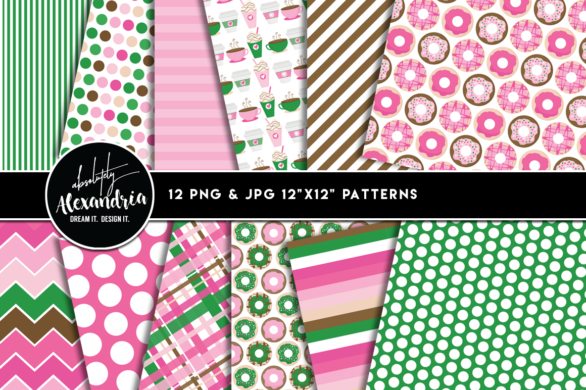 Donut Diva Clipart Graphics & Digital Paper Patterns Bundle example image 2