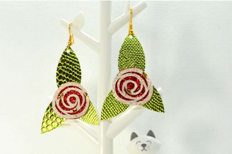 Flower earrings template SVG, DIY earrings template bundle example image 4