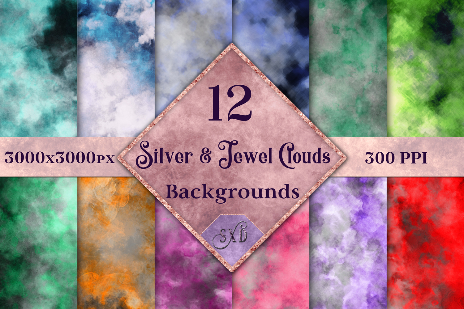 Silver and Jewel Colour Clouds Backgrounds - 12 Image Set example image 1