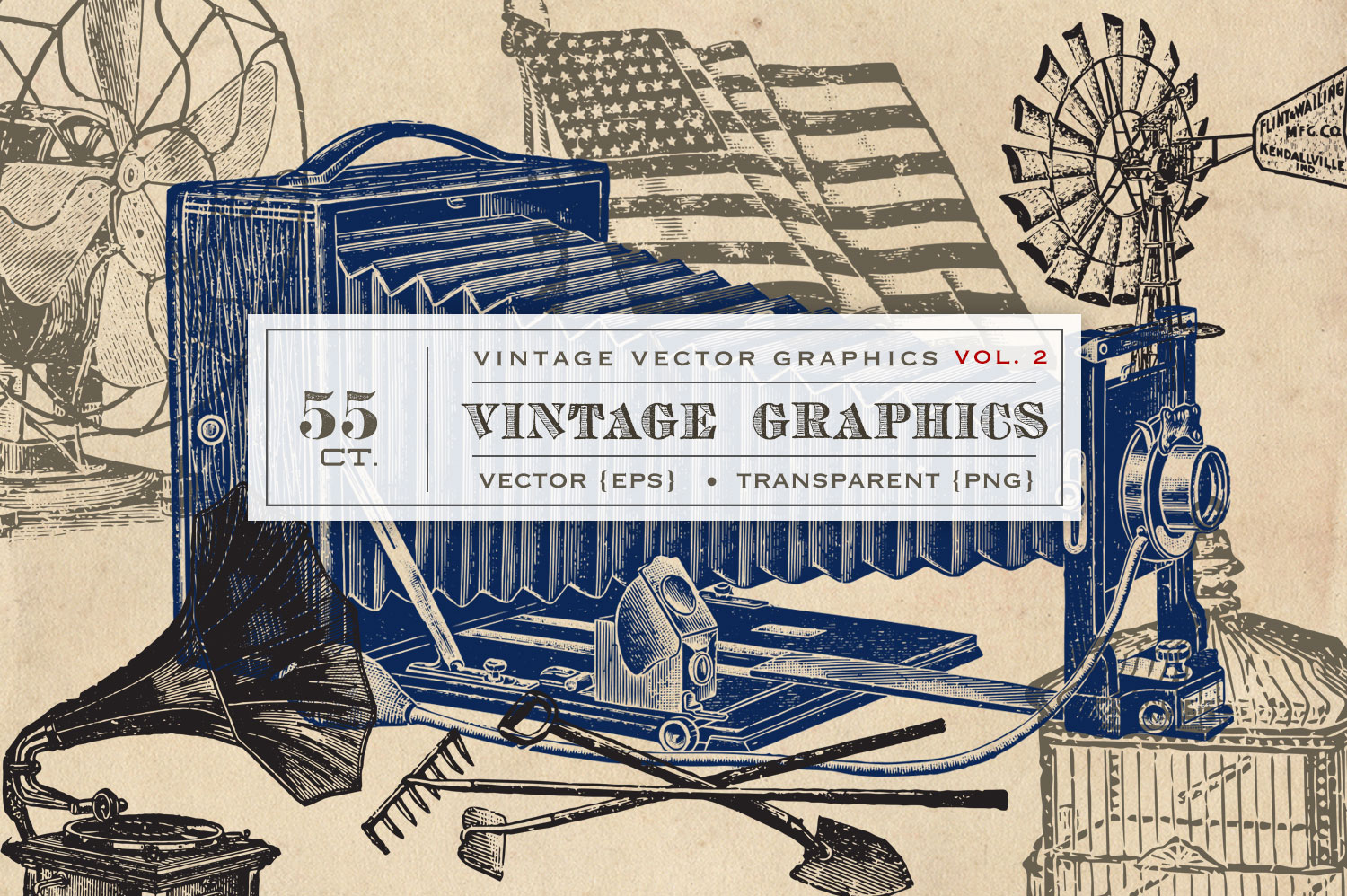 55 Vintage Vectors Graphics Vol. 2 example image 1