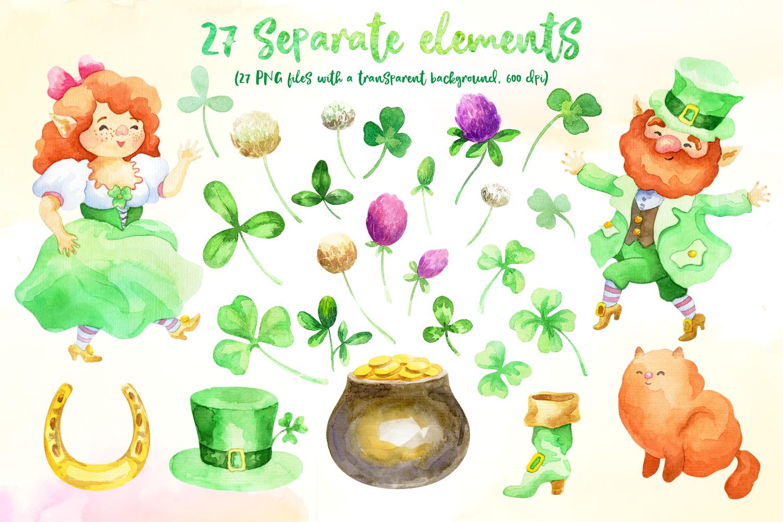 Leprechauns. Patrick's Day watercolor set example image 2