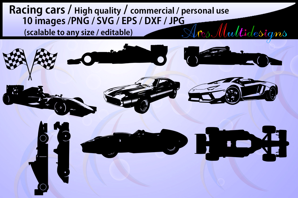 racing car silhouette / cars silhouette / sports car silhouette / cars / SVG / EPs / DXf / JPG / Png / vector set example image 1