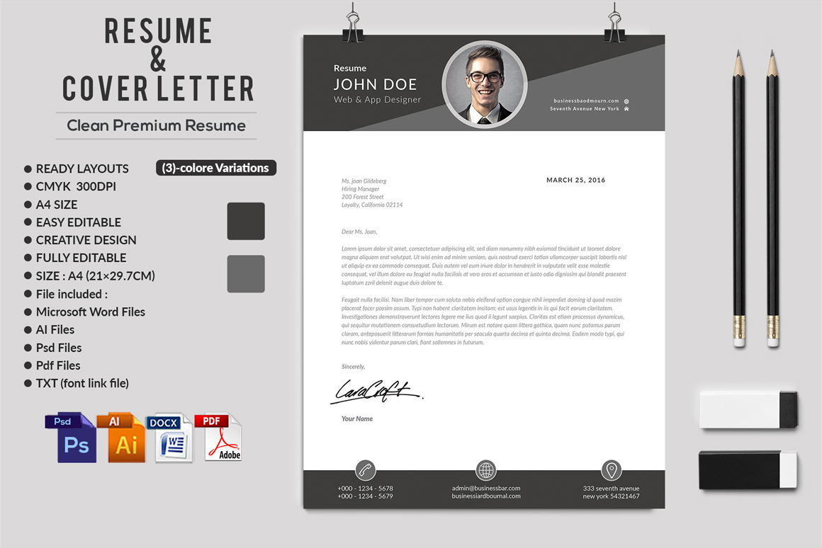 12 Clean Rsume Invoice and Letterhead Bundle example image 22