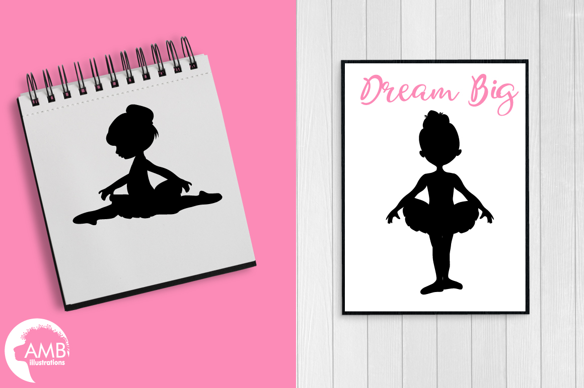 Ballerina silhouettes clipart, graphics, illustrations AMB-1584 example image 4