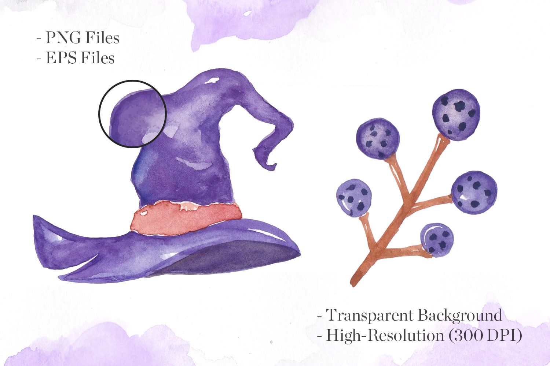 Halloween Watercolor Elements Bundle example image 2