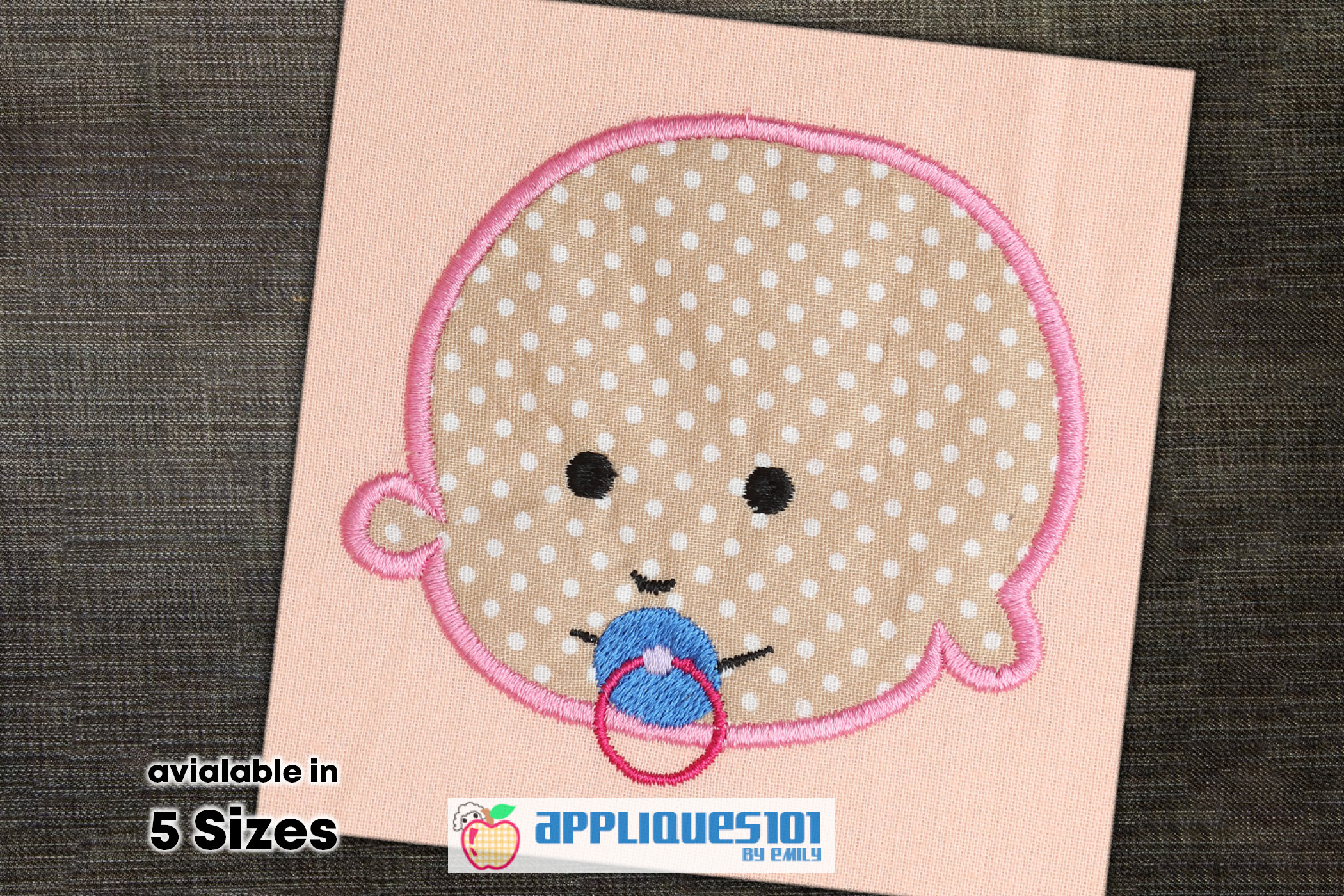 Baby with Nipple Machine Embroidery Applique Design - Baby example image 1