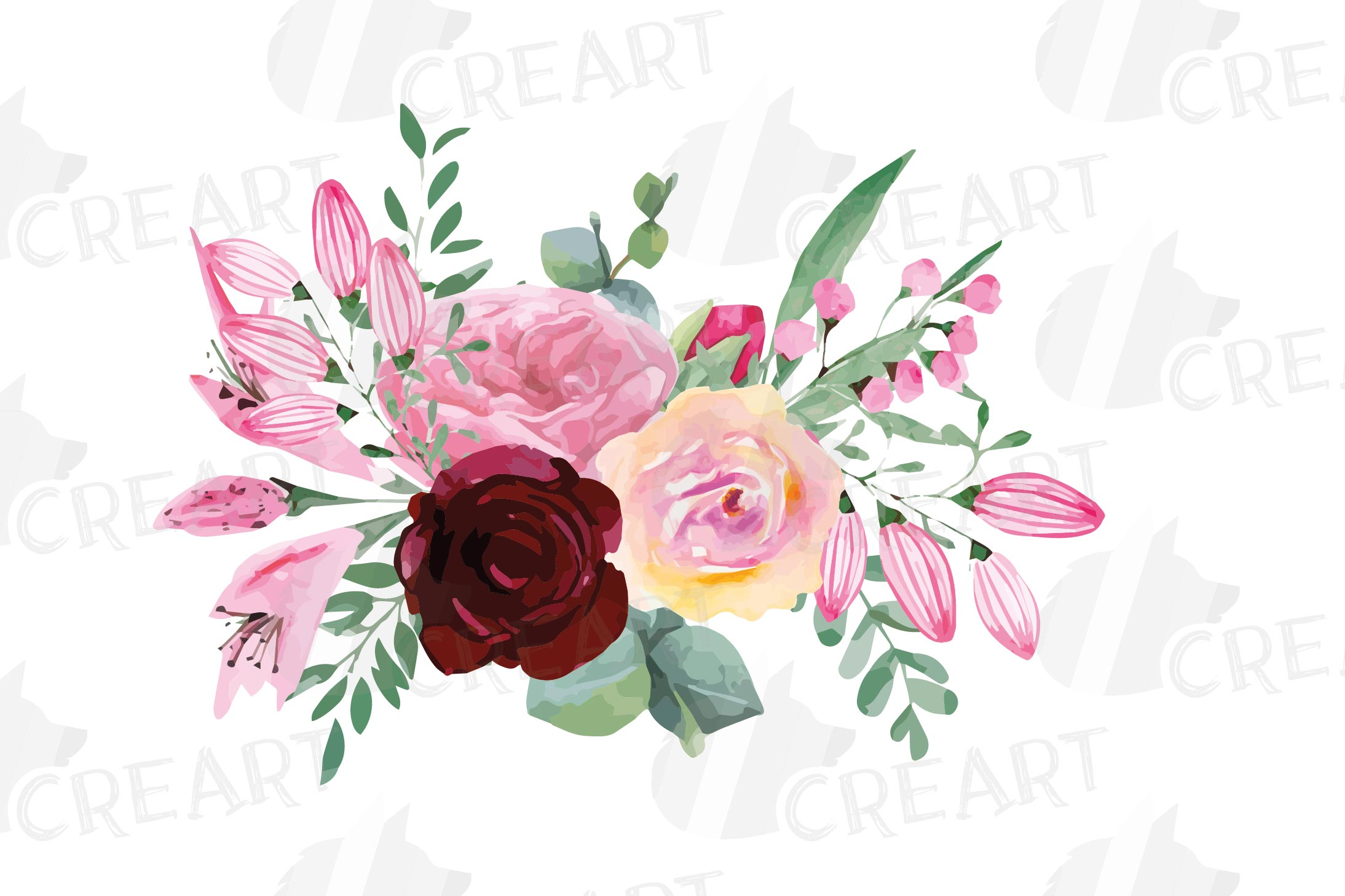Watercolor elegant floral bouquets, rose, anemone decoration example image 14