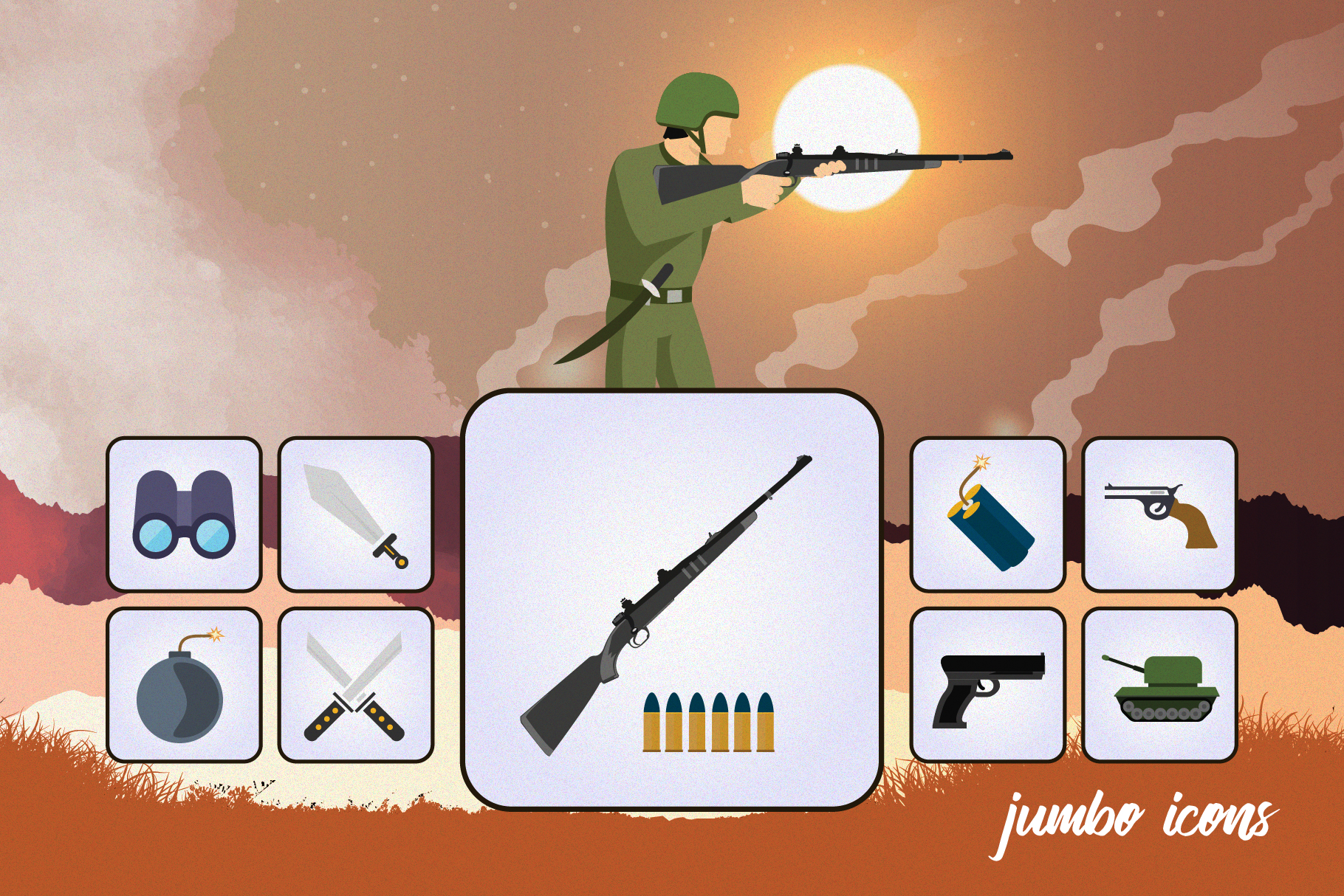 Flat Icons Gaming Weapons Pack V2 example image 4