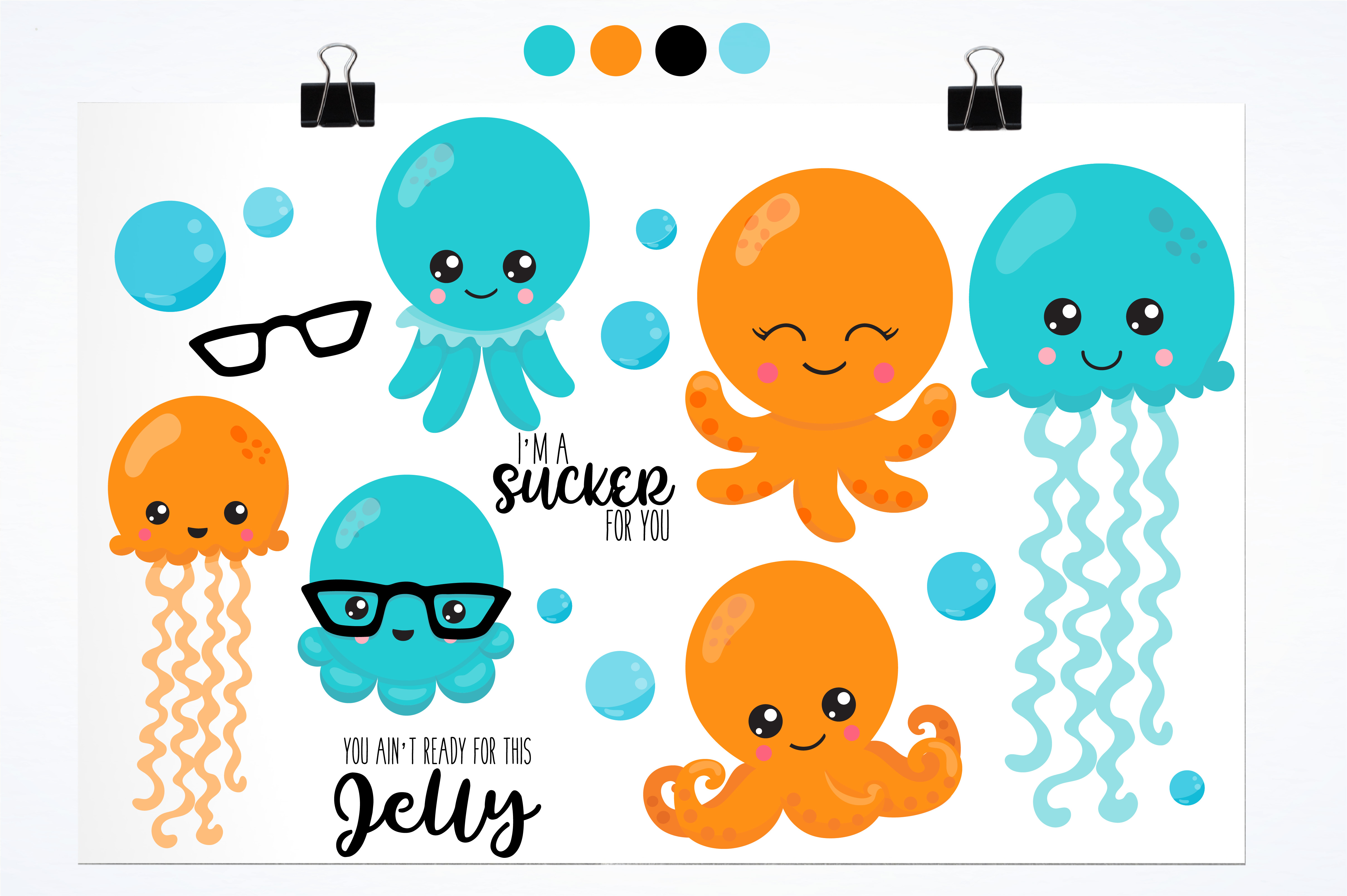 Hipster octopus emoji graphics and illustrations example image 2