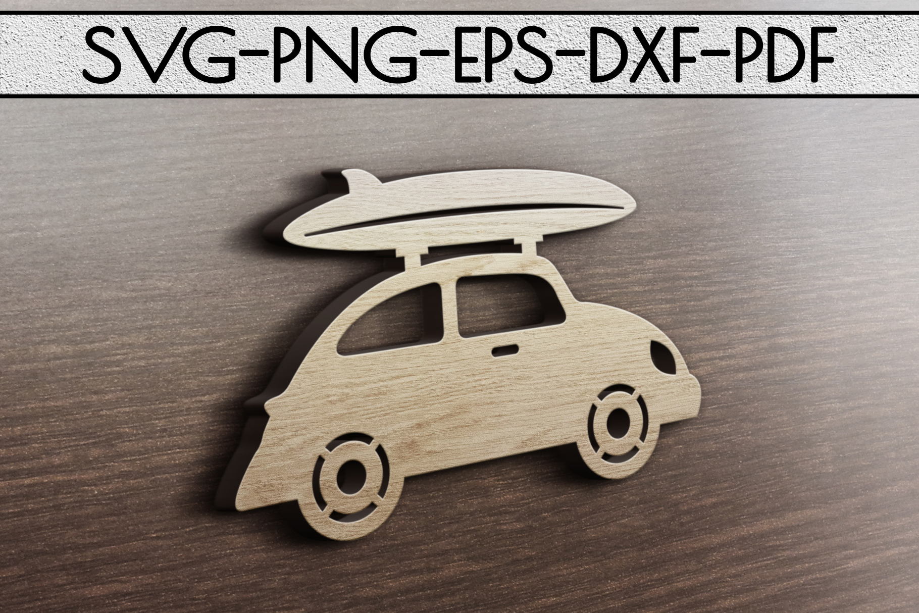 Summer Surf Papercut Template, Car With Surf Board SVG, DXF example image 3