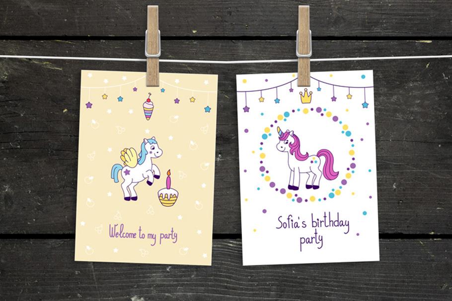 Unicorns vector set and alphabet bonus example image 4