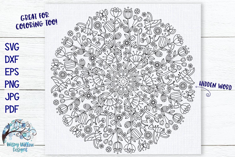 Love Mandala | Hidden Word Mandala SVG Cut File example image 1