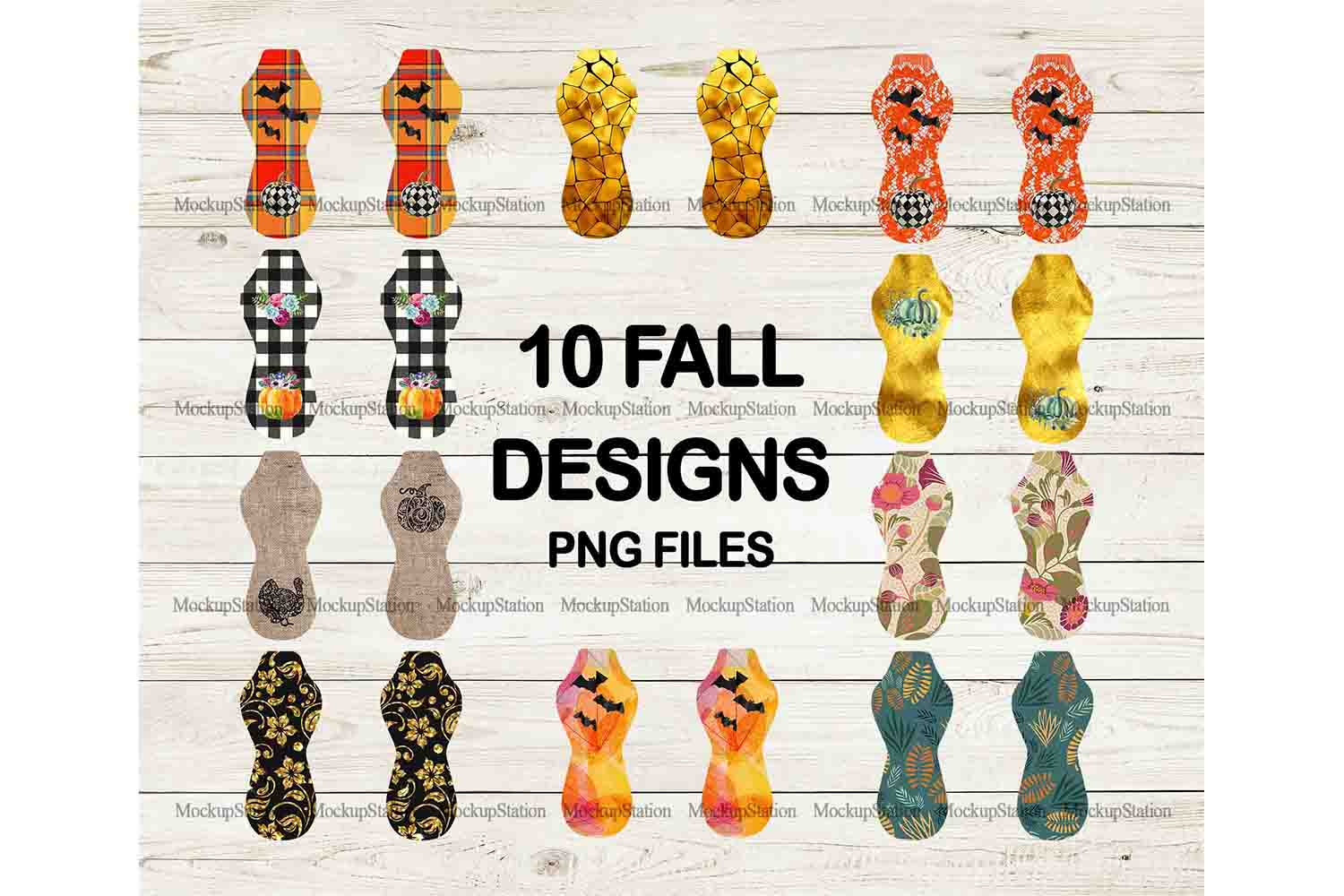 Fall Halloween Sublimation Can Cooler Chapstick PNG Bundle example image 4