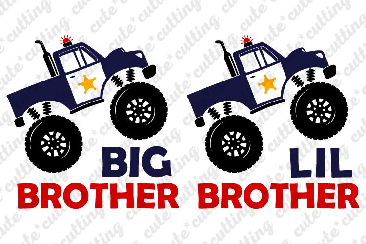 Monster truck police svg, Big brother svg, Lil brother svg example image 1