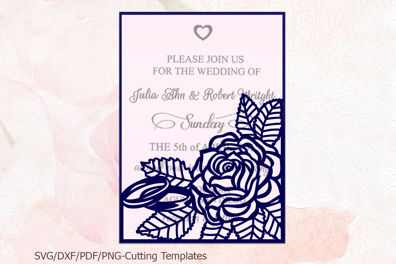 Roses wedding invitation Tri Fold Pocket Envelope set svg example image 3