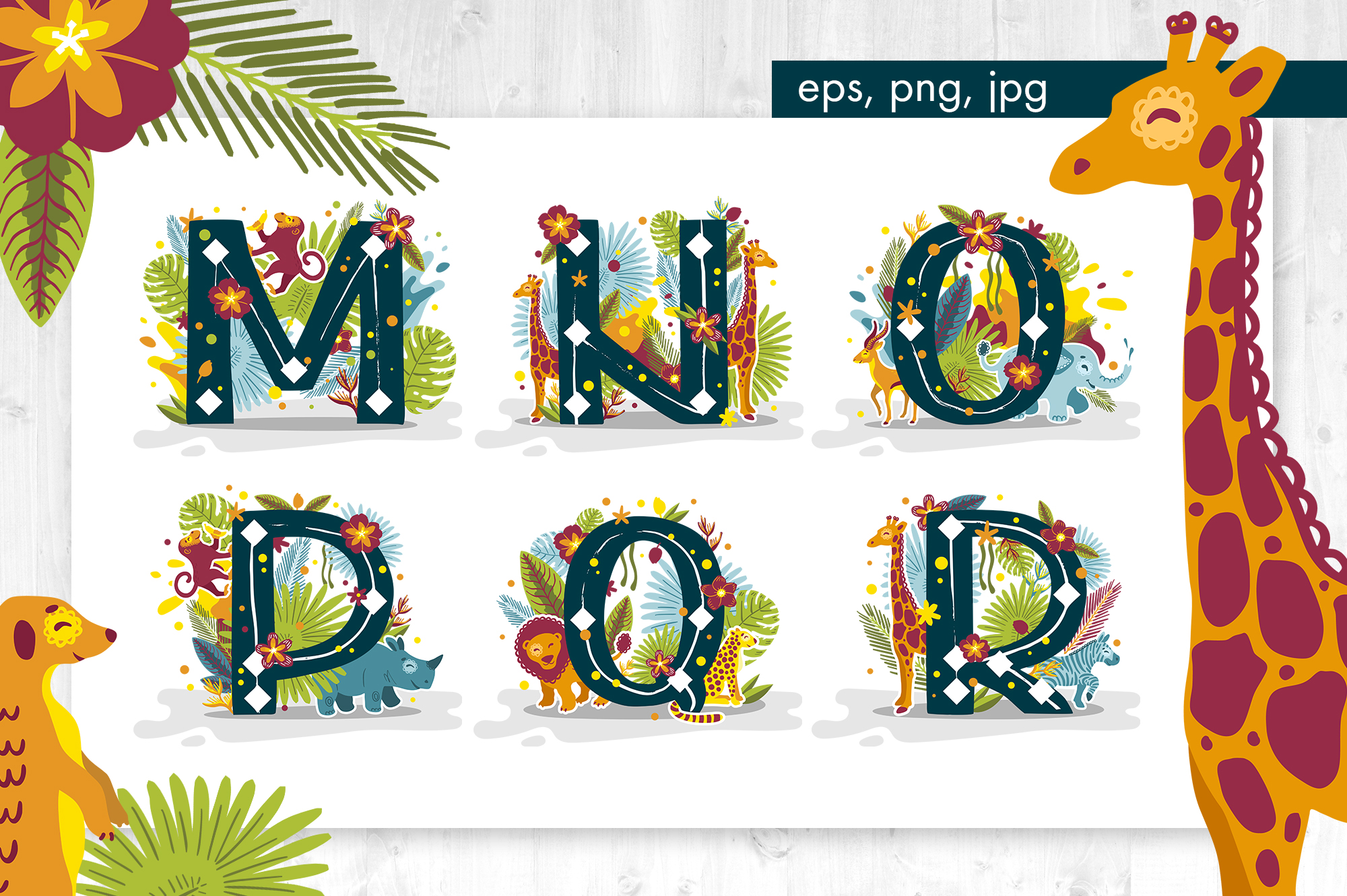 Tropical alphabet cartoon animals vector example image 4