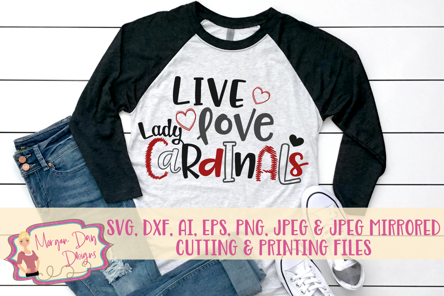 Live Love Lady Cardinals SVG, DXF, AI, EPS, PNG, JPEG example image 1