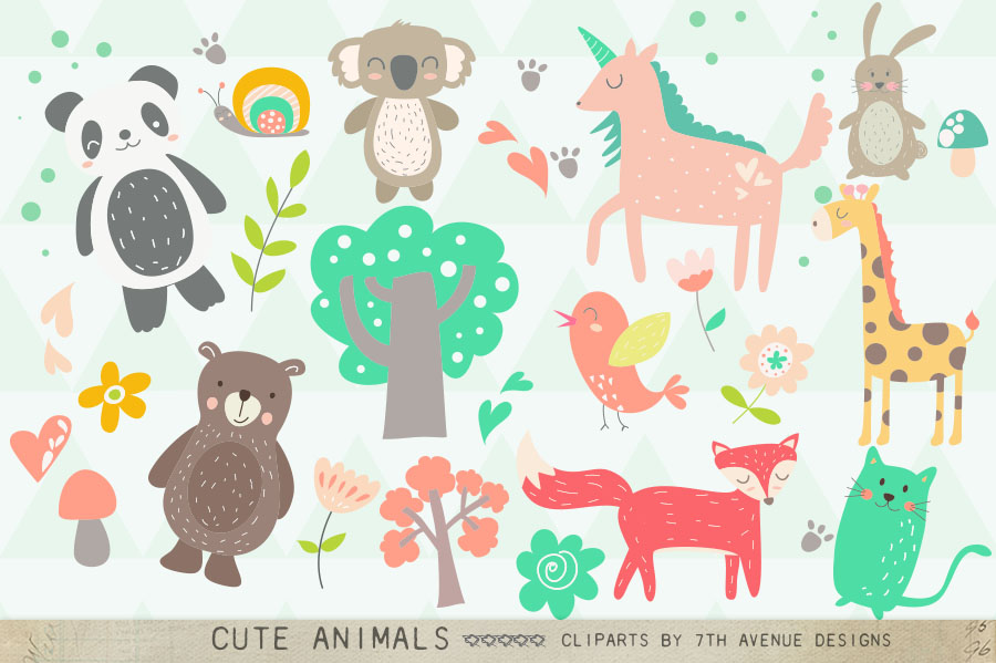 Cute Animals Clipart example image 1