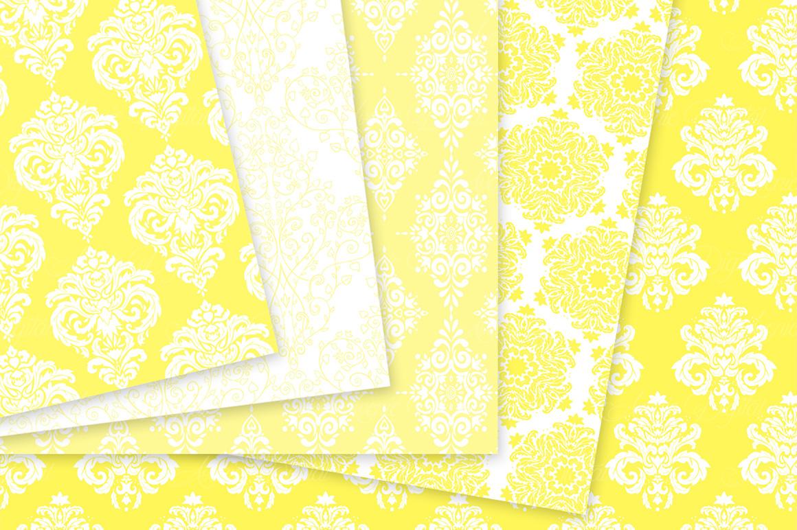 28 Yellow Damask Patterns - Seamless Digital Papers Bundle example image 5