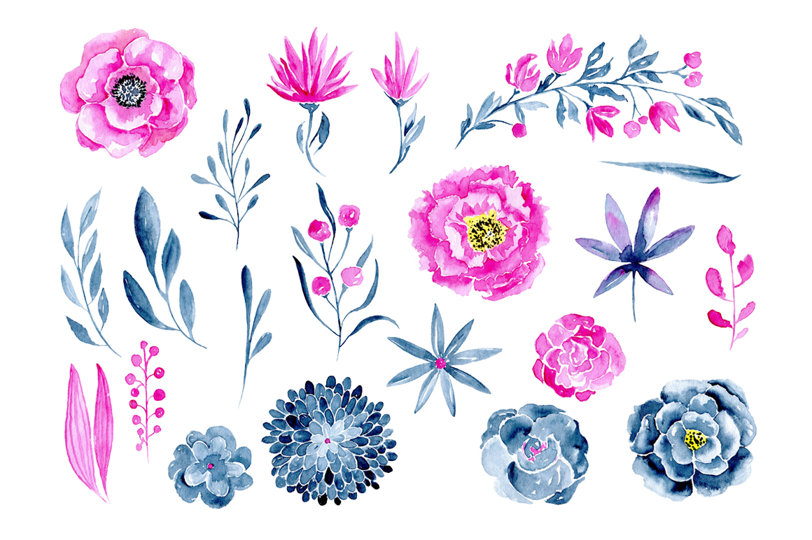 21 Watercolor floral elements purple and navy blue example image 2