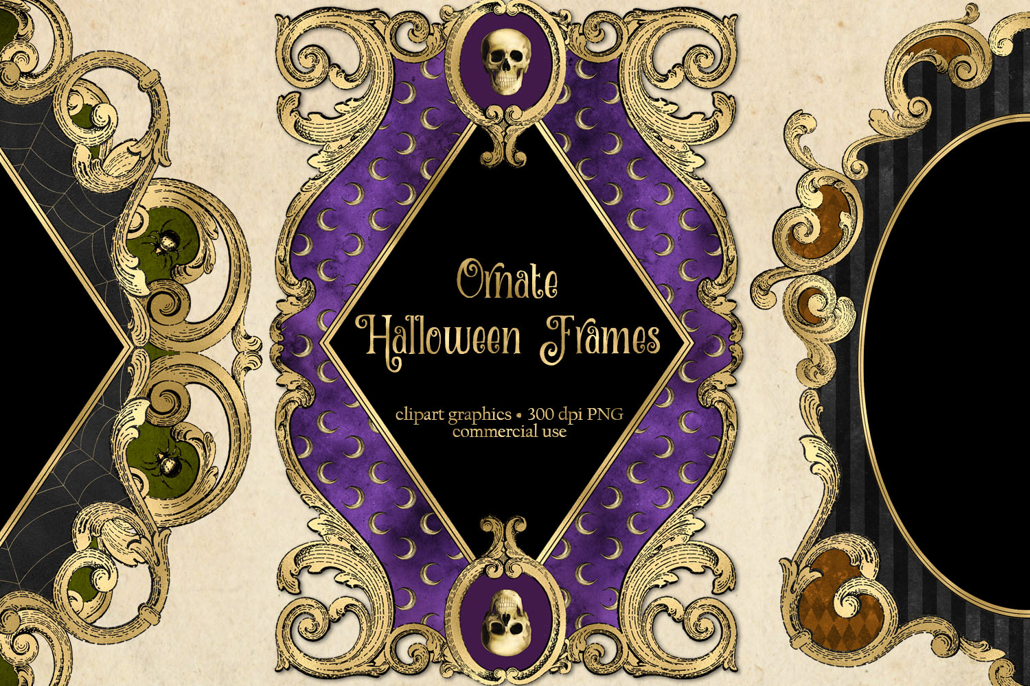 Ornate Halloween Frames Clipart example image 1