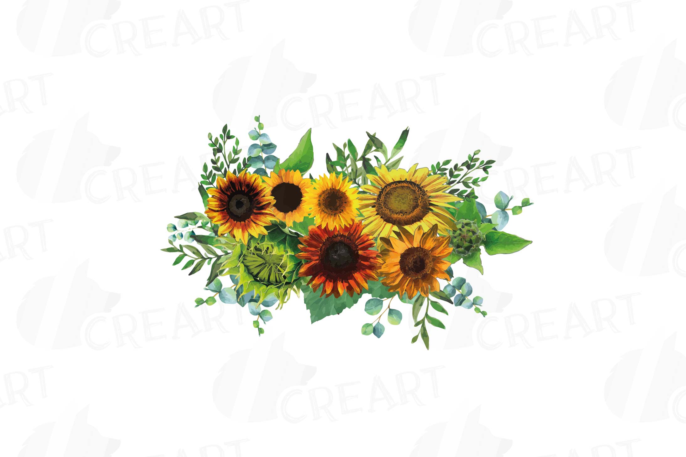 Watercolor sunflower bouquets and design elements example image 6